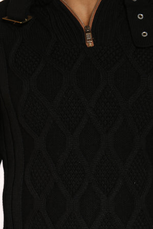 Men's Neck Trim Diamond Zip Sweater - Black
