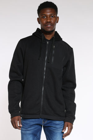 Men's Front Zip Poly Sweater - Black-VIM.COM