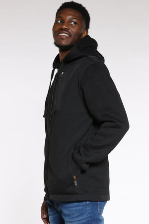 Men's Front Zip Poly Sweater - Black
