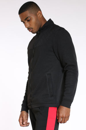 Men's Quilted Nylon Chest & Elbow Sweater - Black