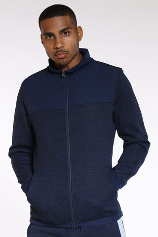 Men's Quilted Nylon Chest & Elbow Sweater - Navy-VIM.COM
