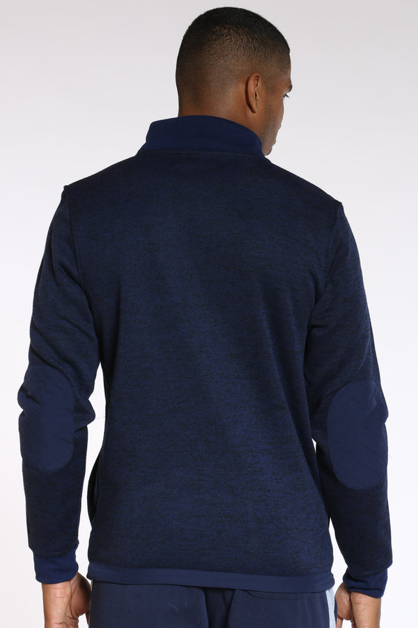 Men's Quilted Nylon Chest & Elbow Sweater - Navy