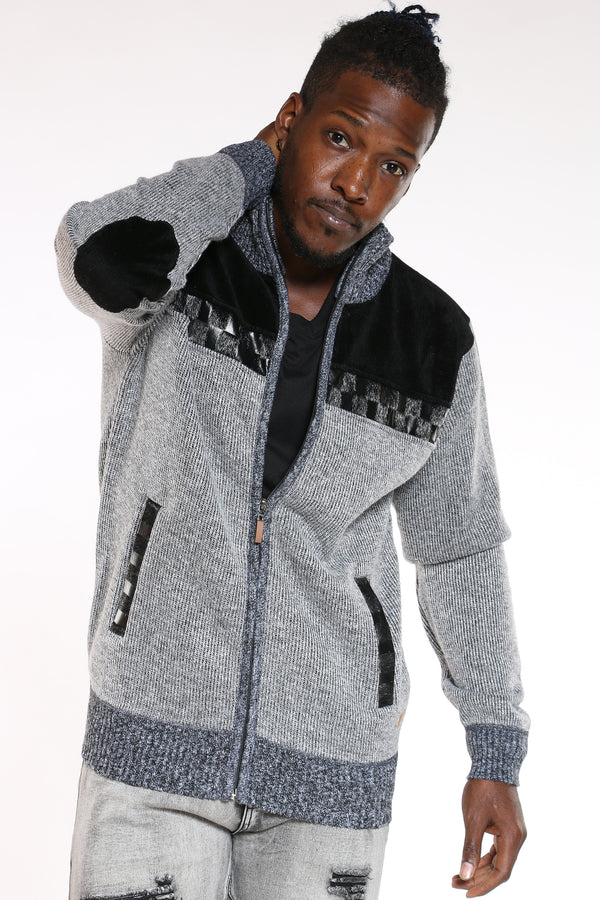 Men's Checkered Full Zip Sweater - Light Grey-VIM.COM