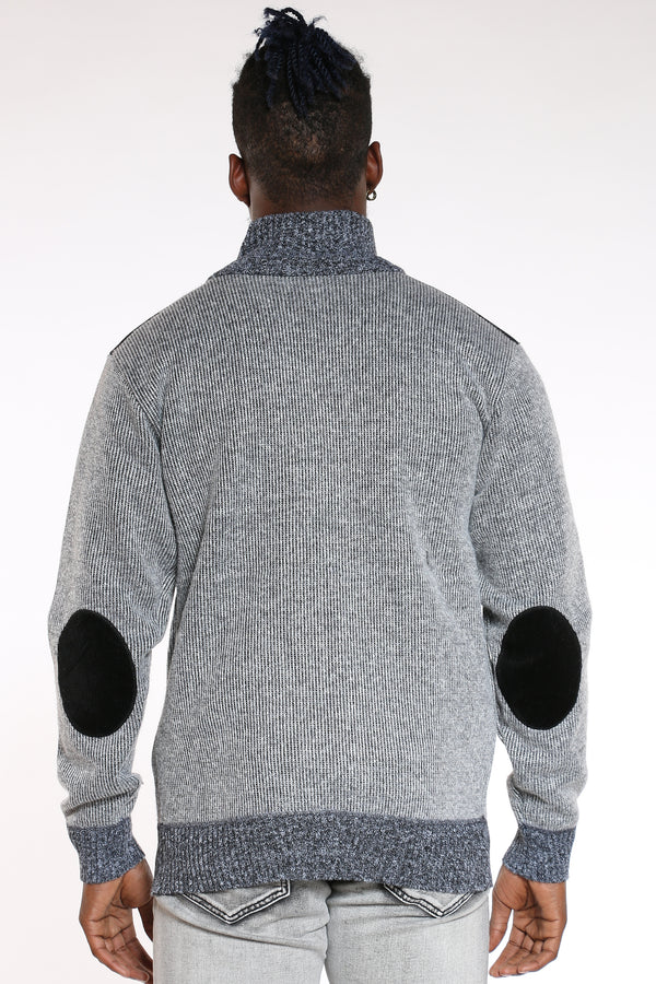 Men's Checkered Full Zip Sweater - Light Grey