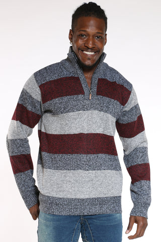 Men's Quater Zip Striped Elbow Patch Sweater - Burgundy Charcoal-VIM.COM