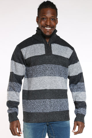Men's Quater Zip Striped Elbow Patch Sweater - Charcoal Light Grey-VIM.COM