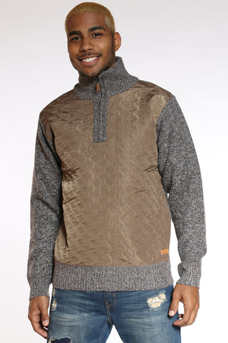 Men's Nylon Trim Sweater - Brown-VIM.COM
