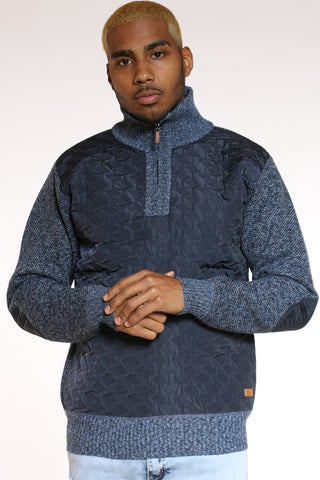 Men's Nylon Trim Sweater - Blue-VIM.COM