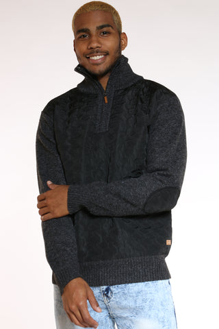 Men's Nylon Trim Sweater - Black-VIM.COM