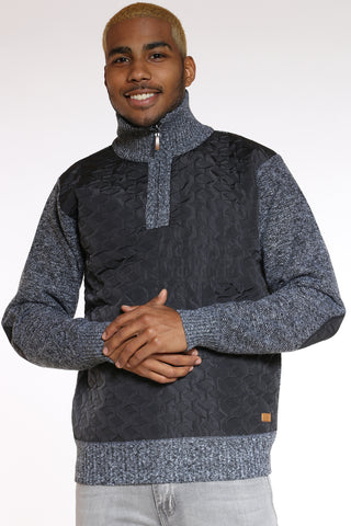 Men's Nylon Trim Sweater - Charcoal-VIM.COM