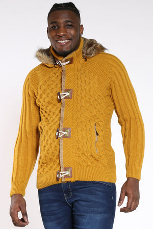 Men's Toggle Zip Of Hoodie - Mustard-VIM.COM