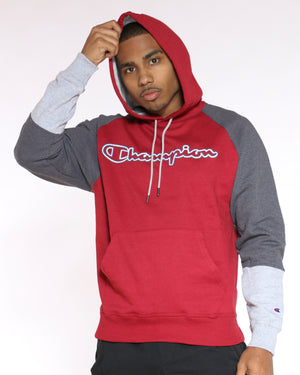 CHAMPION-Men's Champion Color Block Hoodie - Cherry Grey-VIM.COM