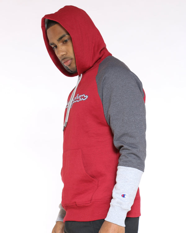Men's Champion Color Block Hoodie - Cherry Grey