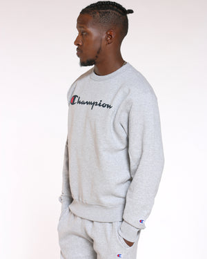 Men's Champion Script Logo Crew Sweater - Grey