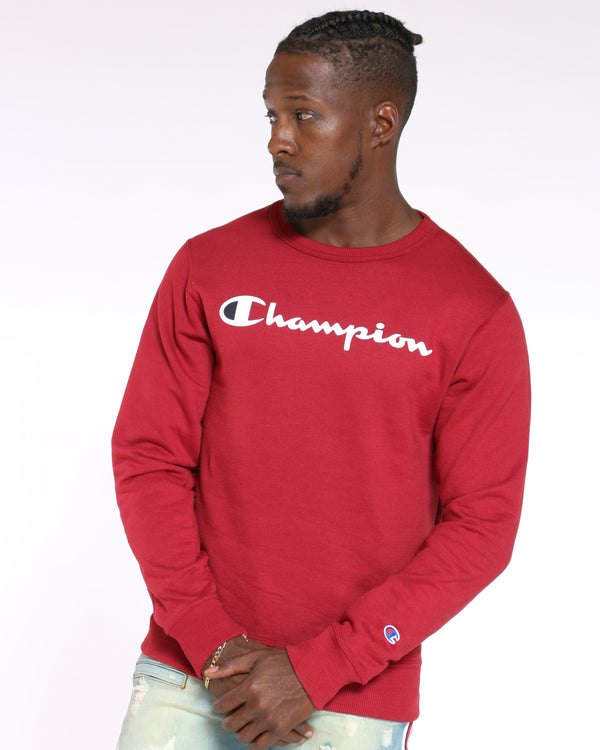 CHAMPION-Men's Champion Script Logo Crew Sweater - Cherry Pie-VIM.COM
