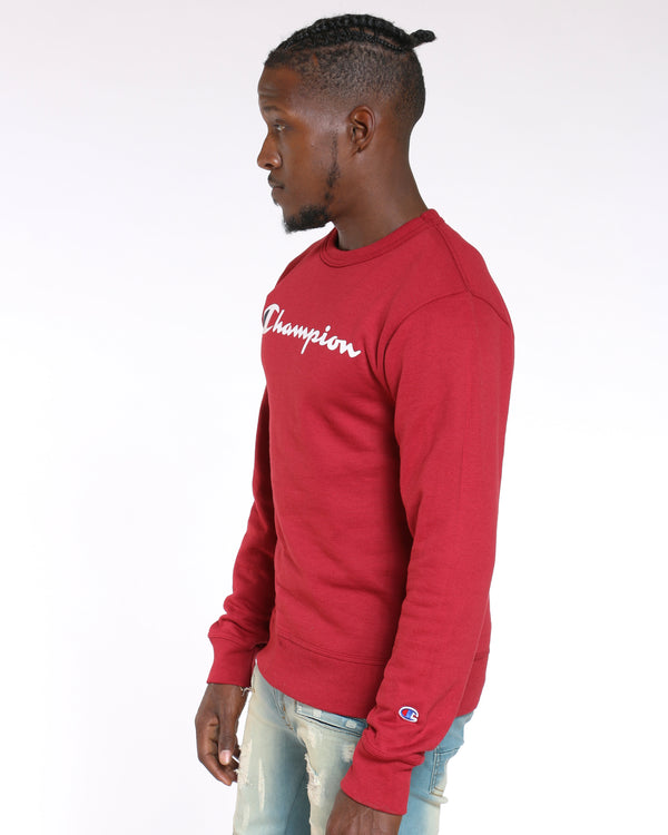 Men's Champion Script Logo Crew Sweater - Cherry Pie