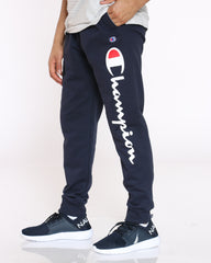 Power Blend Script Fleece Jogger - Navy