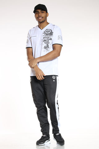 Men's Side Stripe Tricot Pant - Black White-VIM.COM