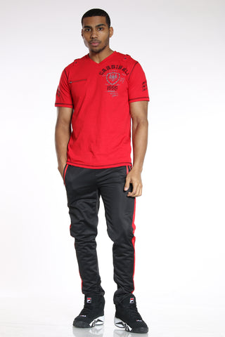 Men's Side Stripe Tricot Pant - Black Red-VIM.COM
