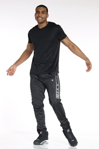 Men's Side Design Tricot Pant - Black White-VIM.COM
