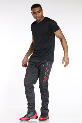 Men's Side Design Tricot Pant - Black Red-VIM.COM