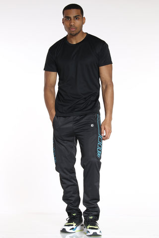 Men's Side Design Tricot Pant - Black Blue-VIM.COM