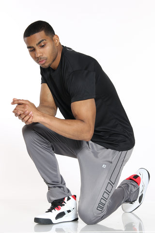 Men's Side Design Tricot Pant - Charcoal Black-VIM.COM