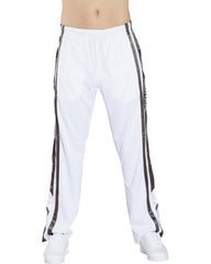 VIM Men'S Side Stripe Vertical Tricot Pants - White/Grey - Vim.com