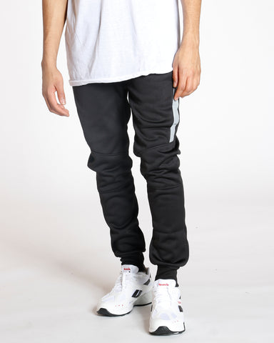 Black Tricot Fleece Lined Jogger