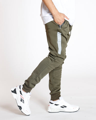 Olive Tricot Fleece Lined Jogger