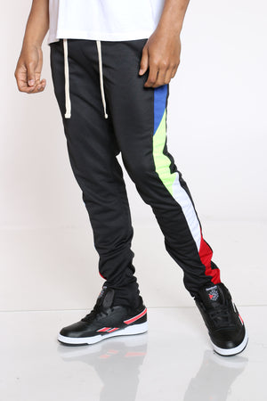 Men's Color Block Track Pant - Black Royal-VIM.COM