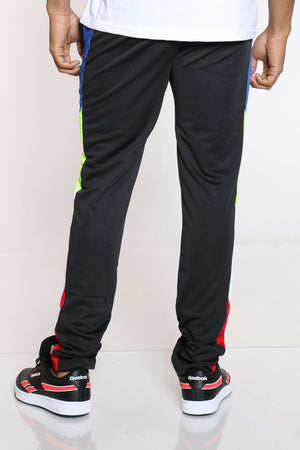 Men's Color Block Track Pant - Black Royal
