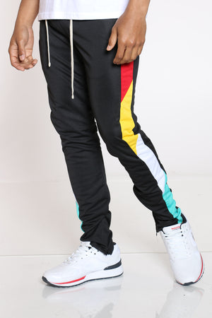 Men's Color Block Track Pant - Black Red-VIM.COM
