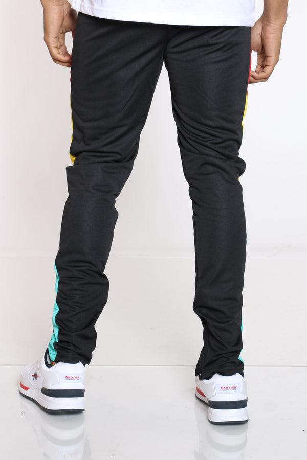 Men's Color Block Track Pant - Black Red