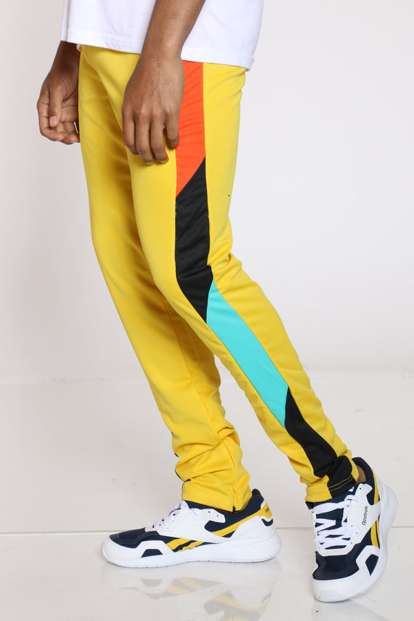 Men's Color Block Track Pant - Yellow