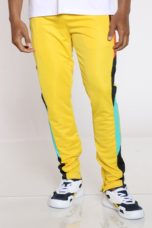 Men's Color Block Track Pant - Yellow-VIM.COM