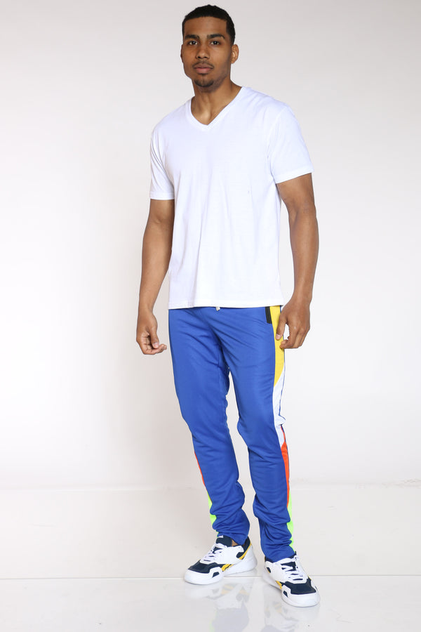 Men's Color Block Track Pant - Royal