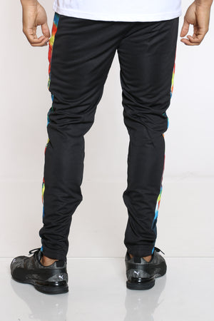 Men's Tie Dye Side Trim Track Pant - Black
