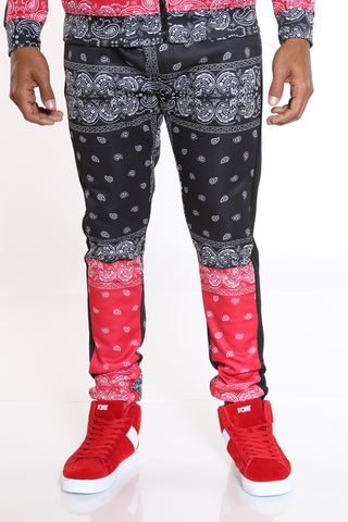 Men's Color Block Bandana Track Pant - Black Red-VIM.COM