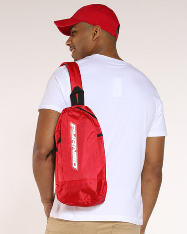 BLACK PYRAMID-Men's Pyramid Tear Drop Shoulder Bag - Red-VIM.COM