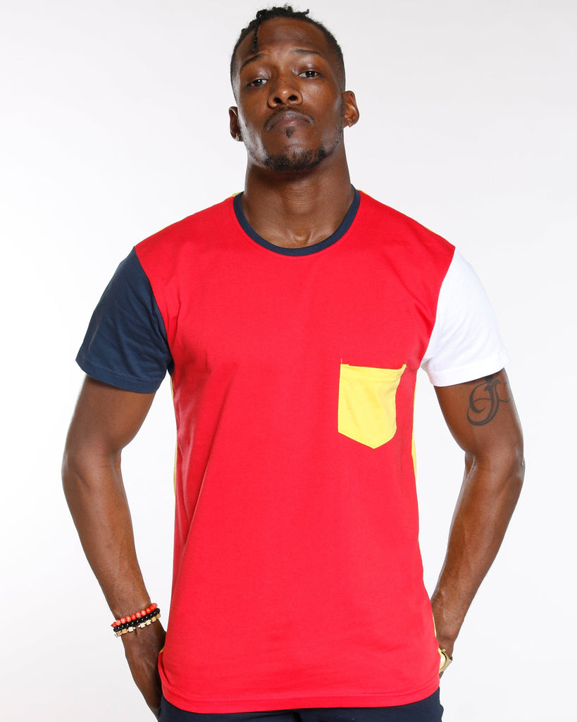 VIM Colorblock Front Pocket Tee - Red - Vim.com