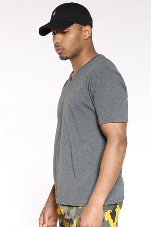 Men's Classic Solid V-Neck Tee - Charcoal