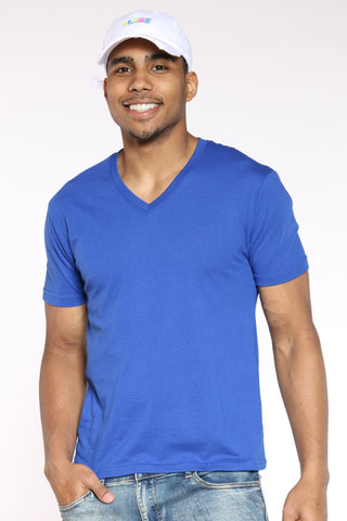 Men's Classic Solid V-Neck Tee - Royal-VIM.COM