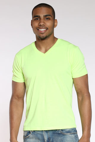 Men's Classic Solid V-Neck Tee - Neon Green-VIM.COM