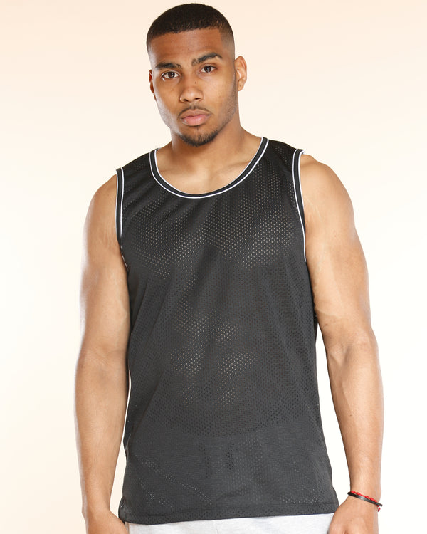 Men's Basic Mesh Tank Lining Shirt - Black-VIM.COM