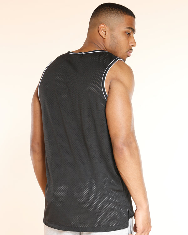 Men's Basic Mesh Tank Lining Shirt - Black