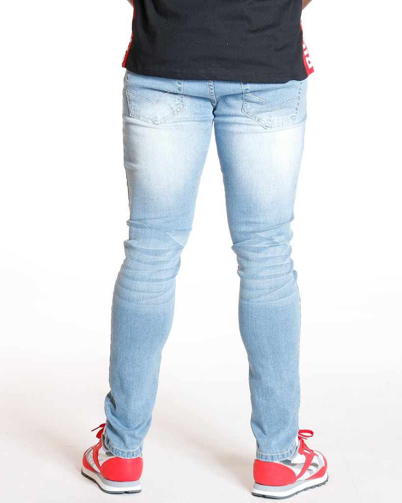 VIM Super Skinny Embrodery Pocket Jean - Medium Blue - Vim.com