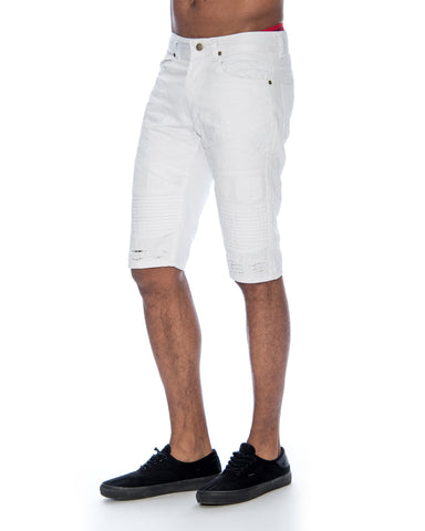 Men'S Moto Look And Rips Twill Shorts