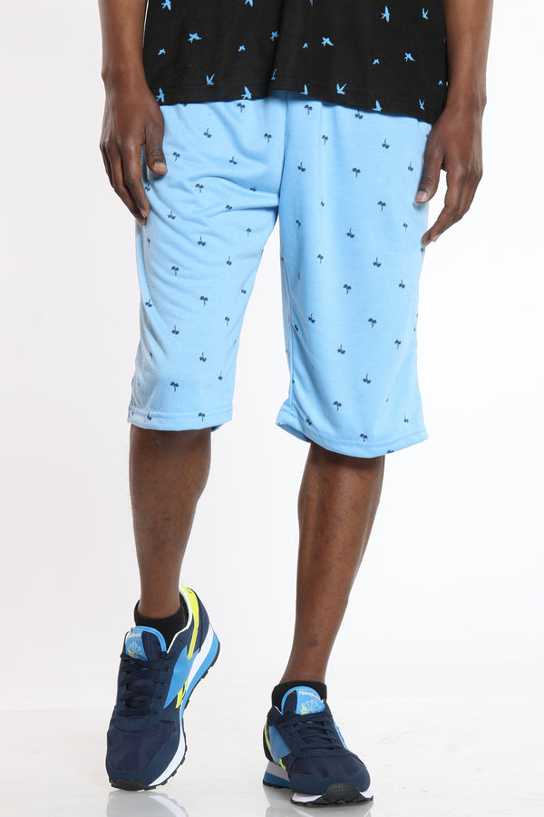 Men's Trees French Terry Short - Blue-VIM.COM