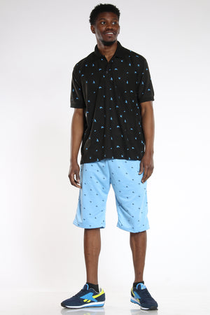 Men's Trees French Terry Short - Baby Blue-VIM.COM